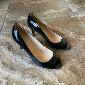 J Crew Black Patent Leather Open Toed Pumps